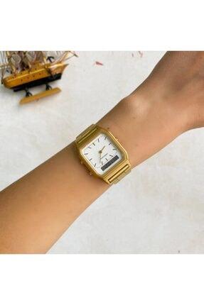 OQQO Beyaz Kadran Gold Çift Göstergeli Saat 1