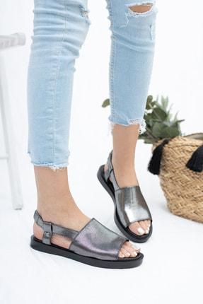 Deripabuc Hakiki Deri Platin Kadın Deri Sandalet Dp26-0597 0