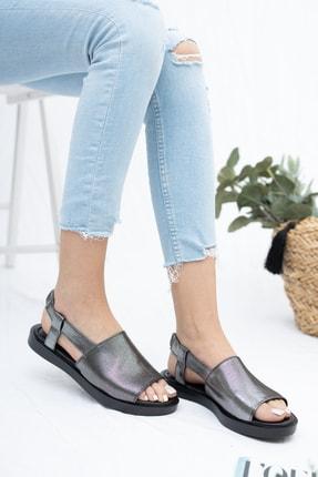 Deripabuc Hakiki Deri Platin Kadın Deri Sandalet Dp26-0597 1