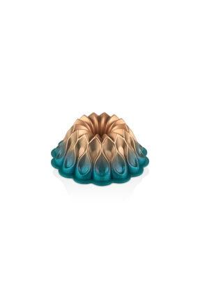 Kadı Kızı Granit Yapışmaz Döküm Damla Gülü Kek Kalıbı - Okyanus Mavisi & Bakır 0