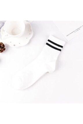 Adel Unisex 9'lu Karışık Renkli Çizgili Kolej Çorap 2