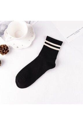 Adel Unisex 9'lu Karışık Renkli Çizgili Kolej Çorap 3