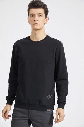 Avva Erkek Siyah Bisiklet Yaka Baskılı Sweatshirt A02y1056 0