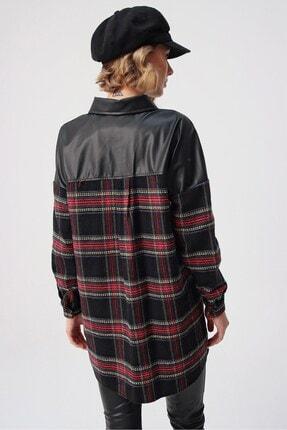 butikburuç Kadın Siyah Üst Deri Gömlek Tunik 4