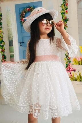 Mnk Krem 4 Yaş Şapkalı Dantelli Kız Çocuk Elbise 2