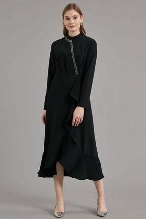 Journey Elbise- Yarım Balıkçı Ön Bant Boncuk Işleme, Volan Detaylı 0
