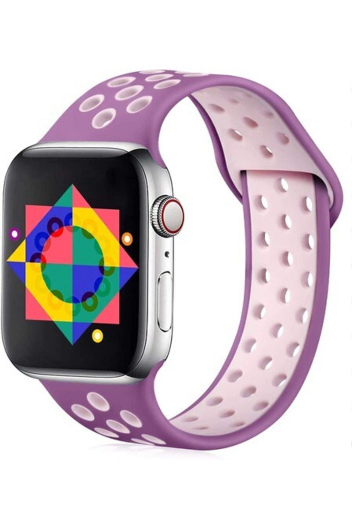 Apple Watch Kordon 2 3 4 5 Seri 38 Mm Ve 40 Mm Delikli Spor Silikon Kordon Kayış Mor Pembe