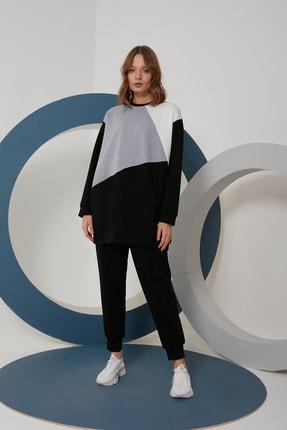 oia W-0924 Siyah Gri Ekru Geometrik Tunik Pantolon Takım Eşofman Takım 0