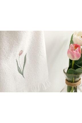 English Home Tulip Garden Nakışlı El Havlusu 30X40 Cm Ekru 1