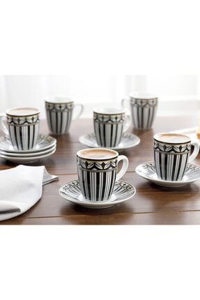 English Home Eldora Porselen 6'lı Kahve Fincan Takımı 100 ml Siyah - Beyaz 1