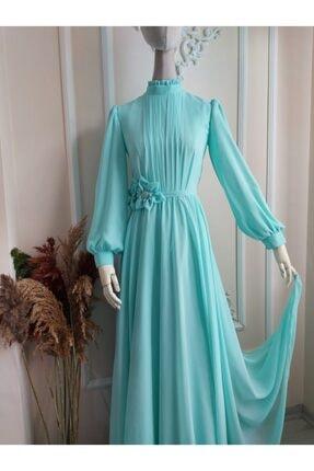 Su Yeşili Şifon Elbise E004