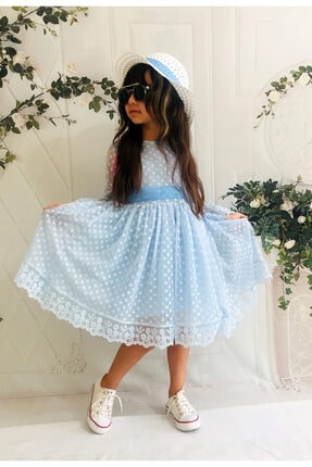 Mixie Şapkalı, Güpürlü, Prenses Model Kız Çoçuk Elbisesi 0