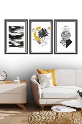Dekor Sevgisi 3 Parça Çerçeve Görünümlü Siyah Sarı Dekoratif Tablo Seti 30x20cm 3mm 0