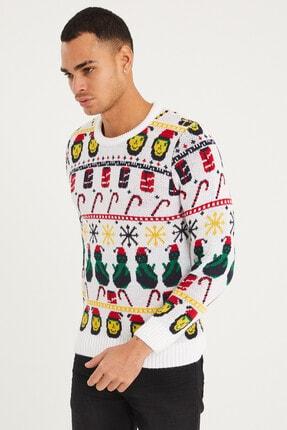 Tarz Cool Erkek Beyaz Christmas Yılbaşı Kazağı-noelkzkr01s 3