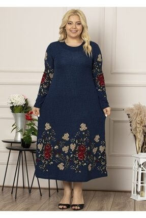 Şirin Butik Kadın Lacivert Yaka Pervazlı Uzun Büyük Beden Elbise 1