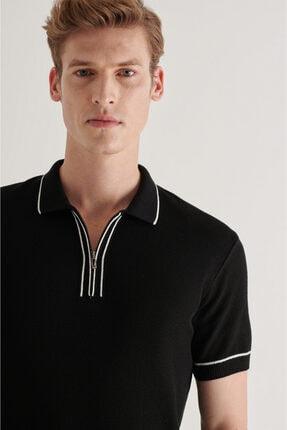 Avva Erkek Siyah Polo Yaka Yarım Fermuarlı Jakarlı Kısa Kol Kazak A11y5006 1