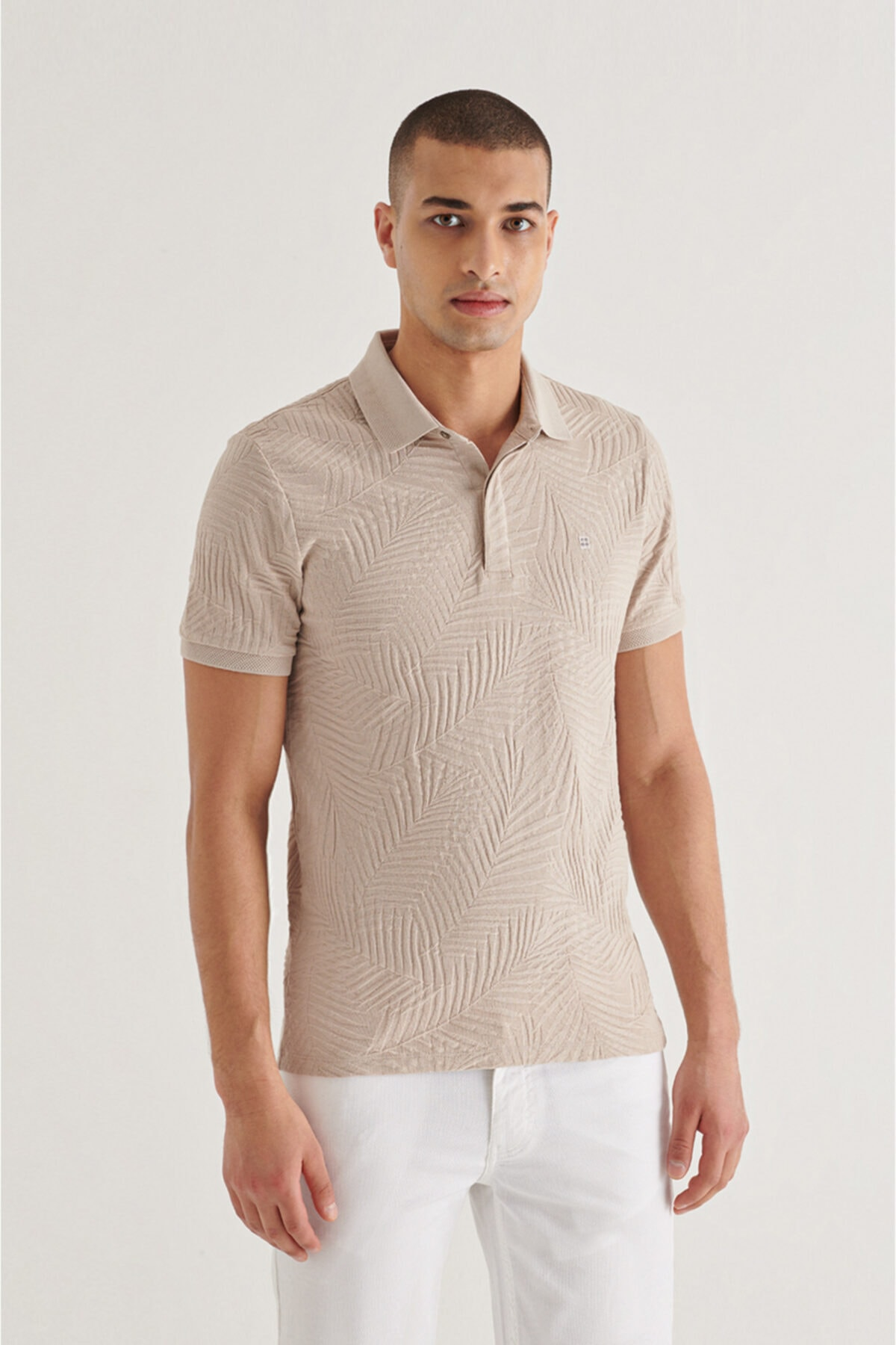 Erkek Bej Polo Yaka Gizli Patlı Jakarlı T-shirt A11y1103