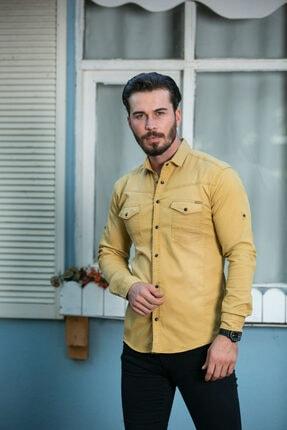 BAYEFENDİ Sarı Cepli Kot Gömlek Slim Fit 2