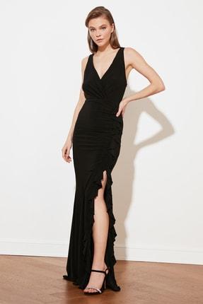 Siyah Volan Detaylı Abiye Elbise TPRSS19UT0026