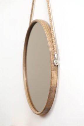 Fold&Go Capella Ayna - Halat Askılı Ayna - Dekoratif Ayna - Yuvarlak Ayna - Ahşap Çerçeveli Ayna -gümüş Ayna 1