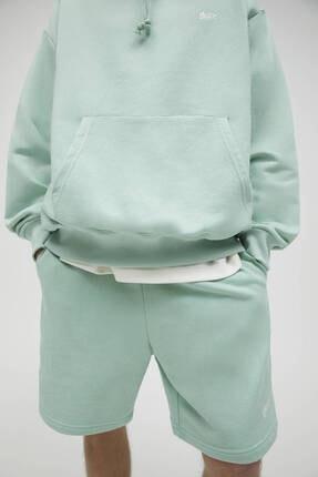 Pull & Bear Erkek Yeşil Basic Renkli Kapüşonlu Sweatshirt 4