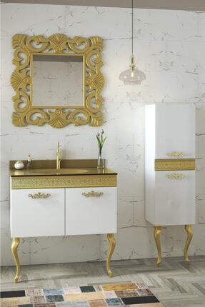 Housepack Gold Beyaz 100 Cm (65+35)boy Dolaplı Cam Lavabolu Lüx Banyo Takımı 0