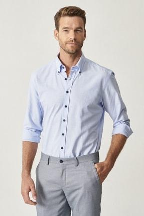 Altınyıldız Classics Erkek Açık Mavi Düğmeli Yaka Tailored Slim Fit Oxford Gömlek 3