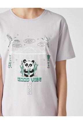 Koton Kadın Mor Bisiklet Yaka T-Shirt 4