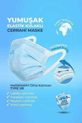 Senso Med Meltblown Elastik Kulaklı Cerrahi Maske 100 Adet Sensomed Tip2r( %99.6'a Koruma Sertifikalı) 1