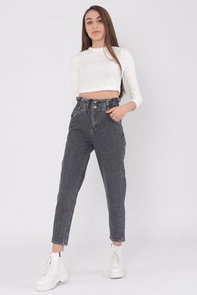 vayro Kadın Füme Kot Yüksek Bel Jean Beli Lastikli Pantolon 1