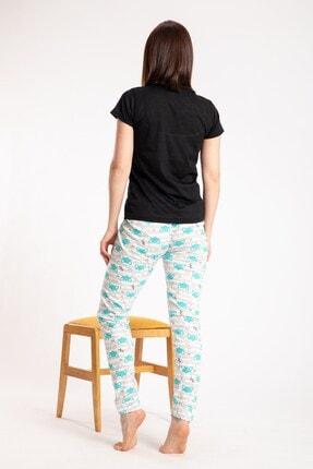 Pemilo Kadın Siyah Tilki Desenli Kısa Kol Pijama Takımı 2