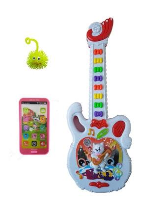 Can Ali Toys 3 Ürün Bir Arada Işıklı Sesli  Gitar Işıklı Sesli Dokunmatik Telefon Set40 cm 0