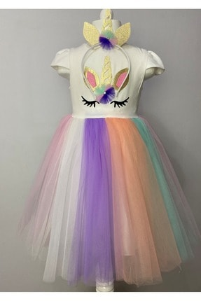 Buse&Eylül Bebe Kız Çocuk  Ekru Unicorn Taçlı Parti Elbisesi 1