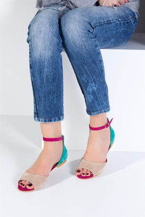Fox Shoes Kadın Ten Fuşya Yeşil Sandalet B726555002 0
