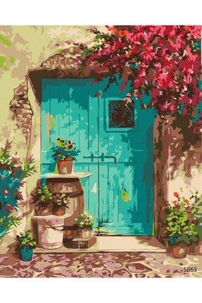 HobbyGO Mavi Kapı Sayılarla Boyama Seti Çerçevesiz Kanvas Bez 45 x 55 cm 0