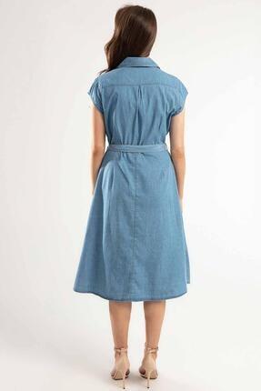 Pattaya Kadın Kuşaklı Kısa Kollu Kloş Gömlek Elbise Y20s110-1677 3
