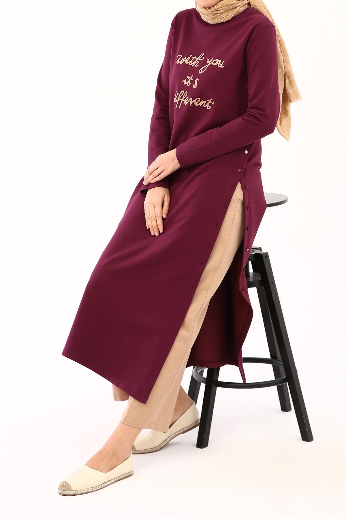 Kadın Gül Kurusu Nakışlı Renkli Düğmeli Elbise Tunik