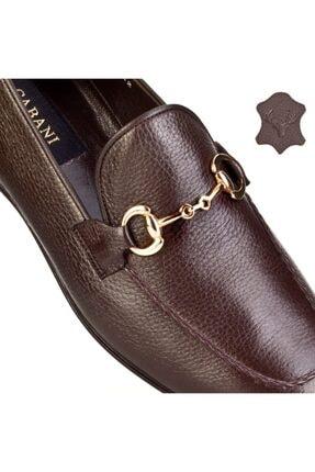 Cabani Toka Aksesuarlı Geyik Derisi Kaymaz Taban Loafer - Erkek Ayakkabı Kahve 4
