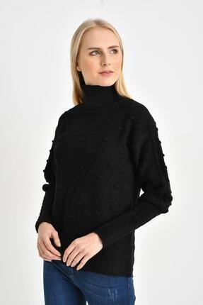 Tena Moda Kadın Siyah Balıkçı Ponponlu Kazak 1