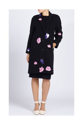 Christopher Kane Çiçek Detaylı Lacivert Palto 1