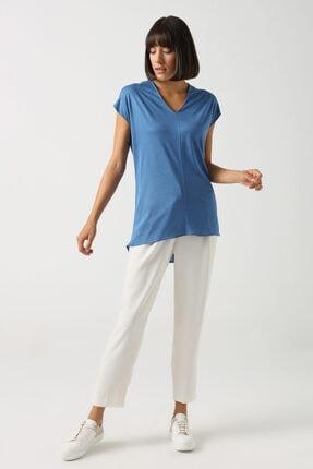 Gusto V Yakalı T-shirt - Mavi 0