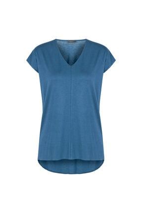 Gusto V Yakalı T-shirt - Mavi 2