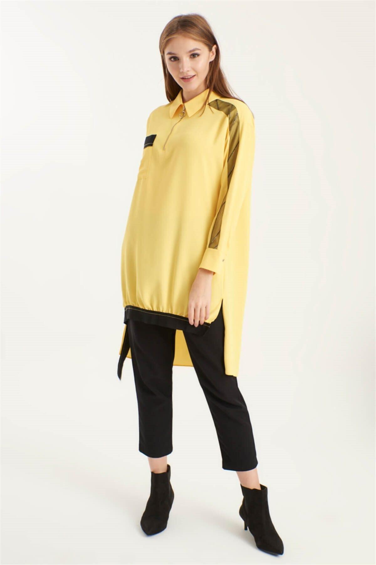 Ribana Detaylı Tunik Sarı T-0766