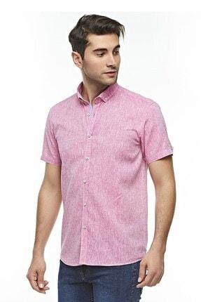 Otto Moda Kısa Kollu Keten Gömlek Pink 0