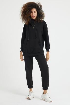 Giyinsende Kadın Siyah Fermuarlı Kanguru Cep Eşofman Takımı 3