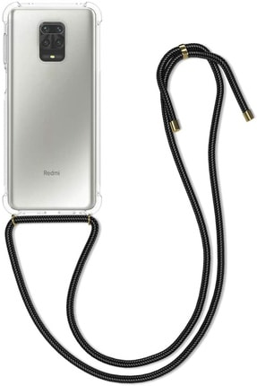 TEKNOMODA Xiaomi Redmi Note 9 Pro Siyah Şeffaf Boyun Omuz Askılı Ipli Kordonlu Kılıf 0