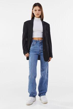 Bershka Straight Fit Yüksek Bel Jean 4