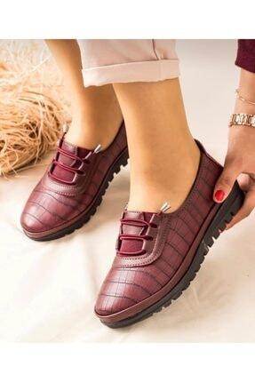 SAYKMAR Kadın Bordo Babet Ayakkabı 1