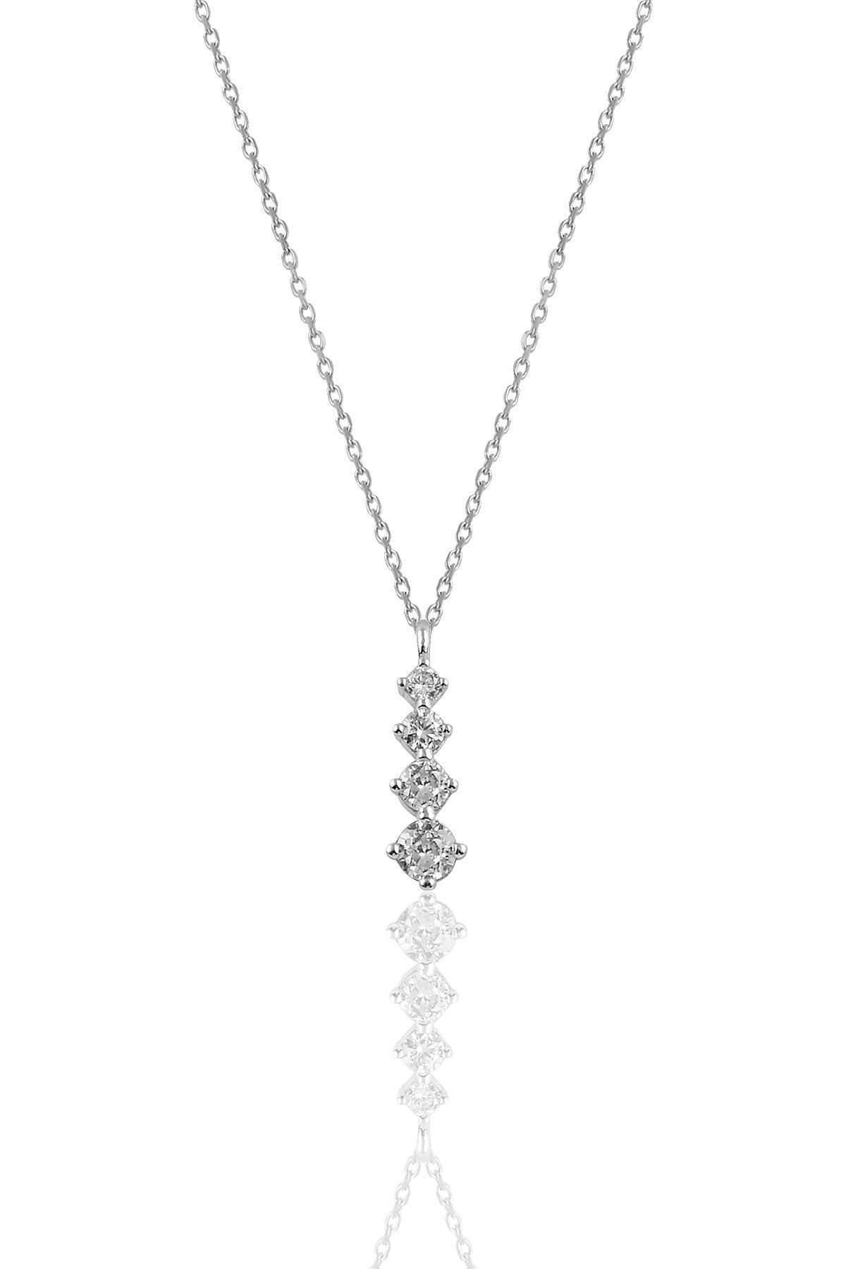 Söğütlü Silver Gümüş Rodyumlu  Zirkon Taşlı Pırlanta Modeli Pırıltı Kolye 0