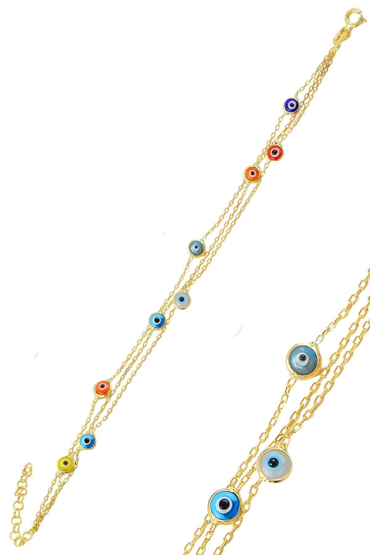 Söğütlü Silver Gümüş Altın Yaldızlı, Renkli,Cam Göz Nazar Üç Zincirli  Gümüş Bileklik 0